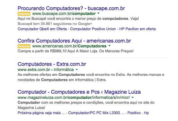 Resultado Google Adwords