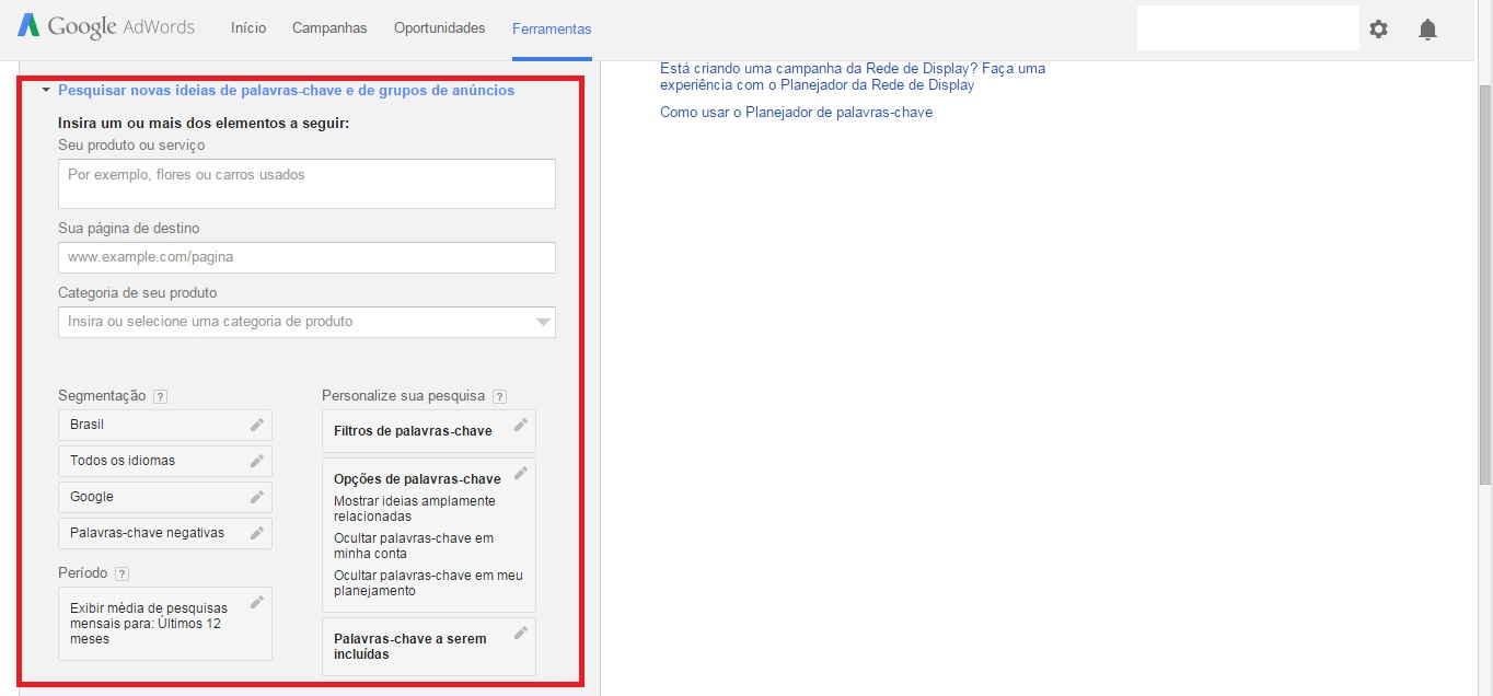 planejador palavras-chave google adwords