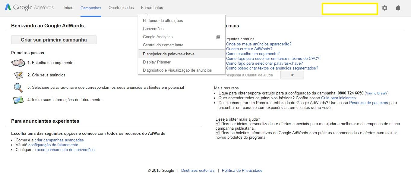 planejador palavras-chave google SEO