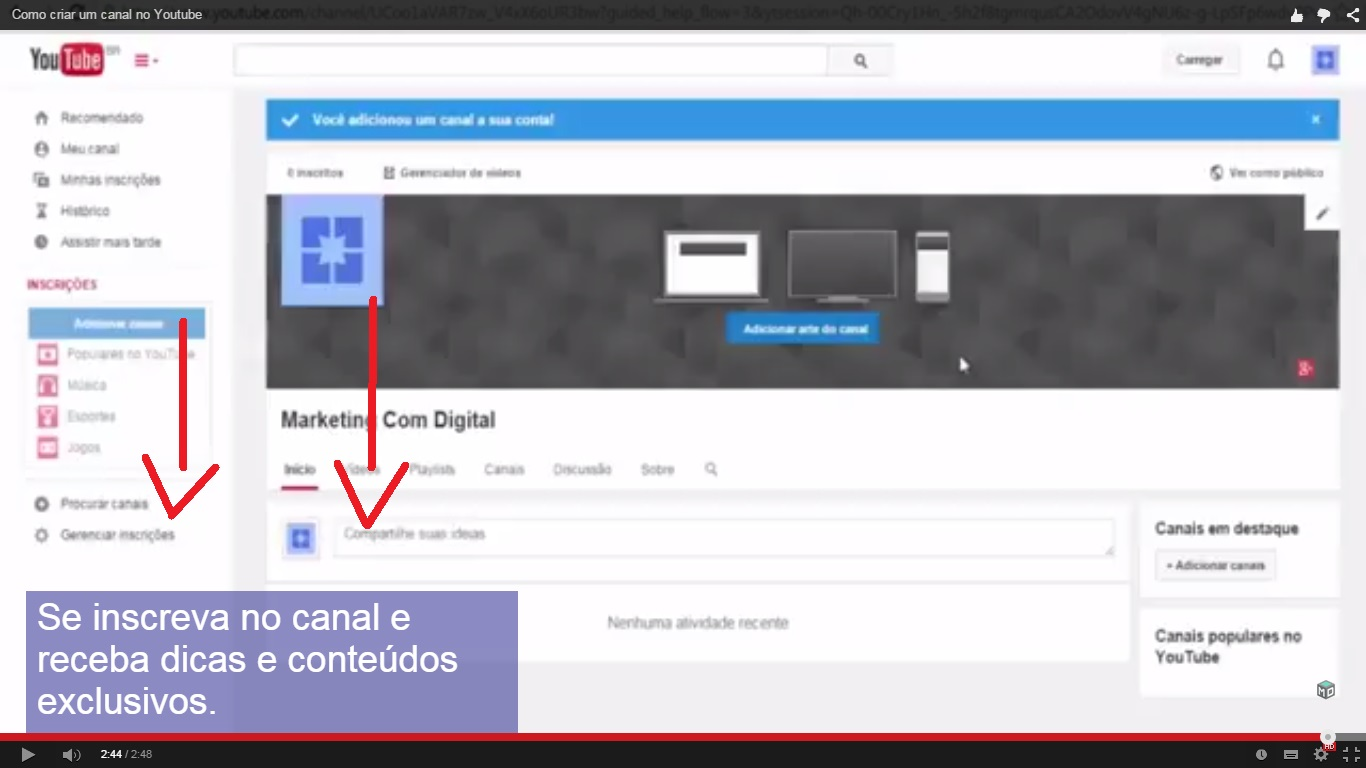 anotação youtube card recurso