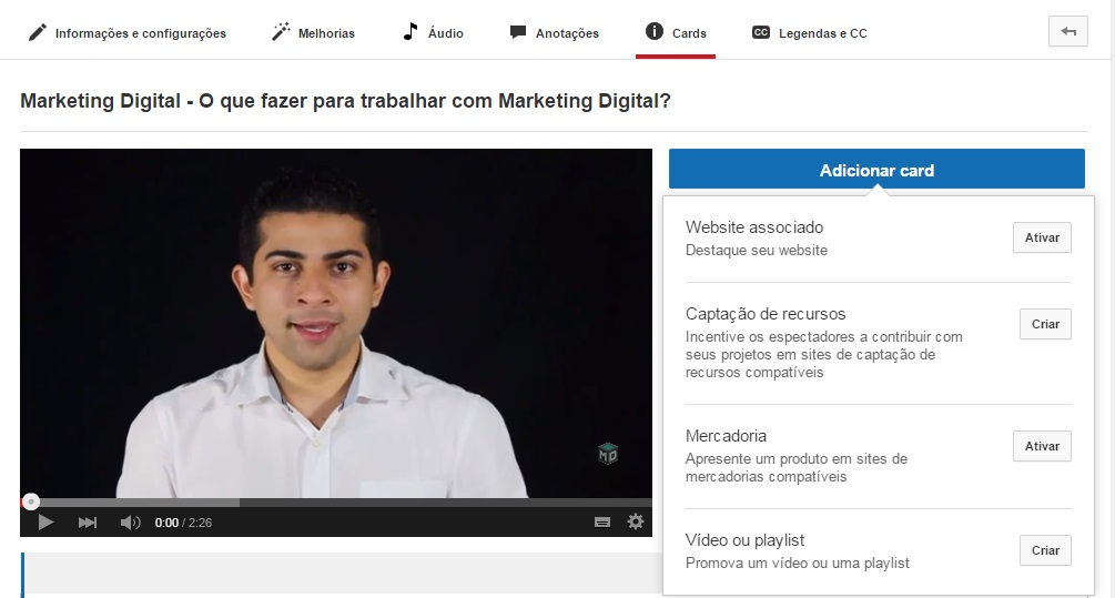 Youtube Card anotação marketing