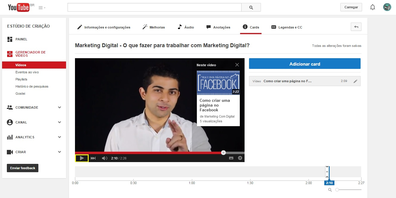 Youtube Card Aumentar Vendas Marketing