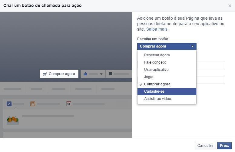 call to action facebook fanpage