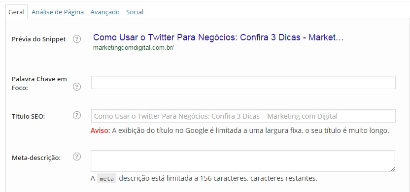 SEO otimização texto blog marketing