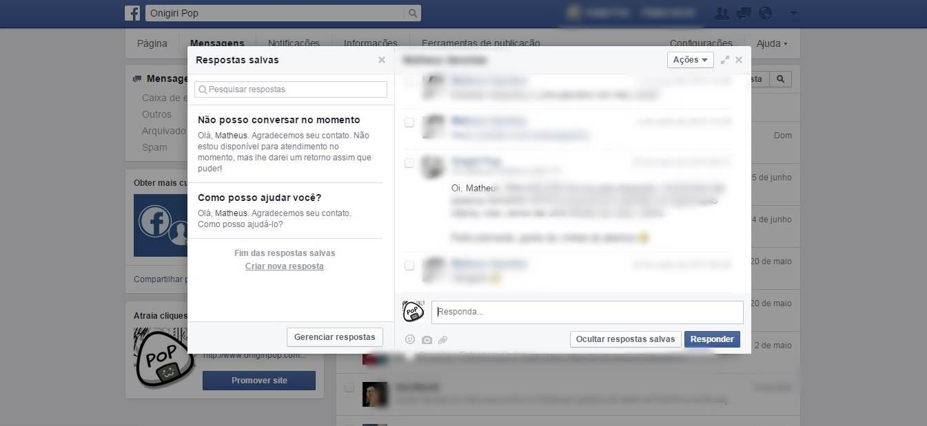 Respostas Salvas Facebook