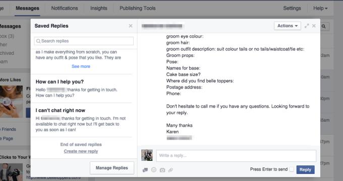 facebook saved replies marketing digital