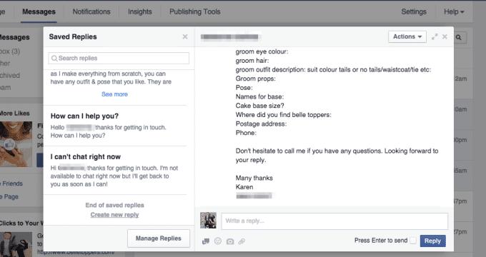 facebook saved replies marketing digital