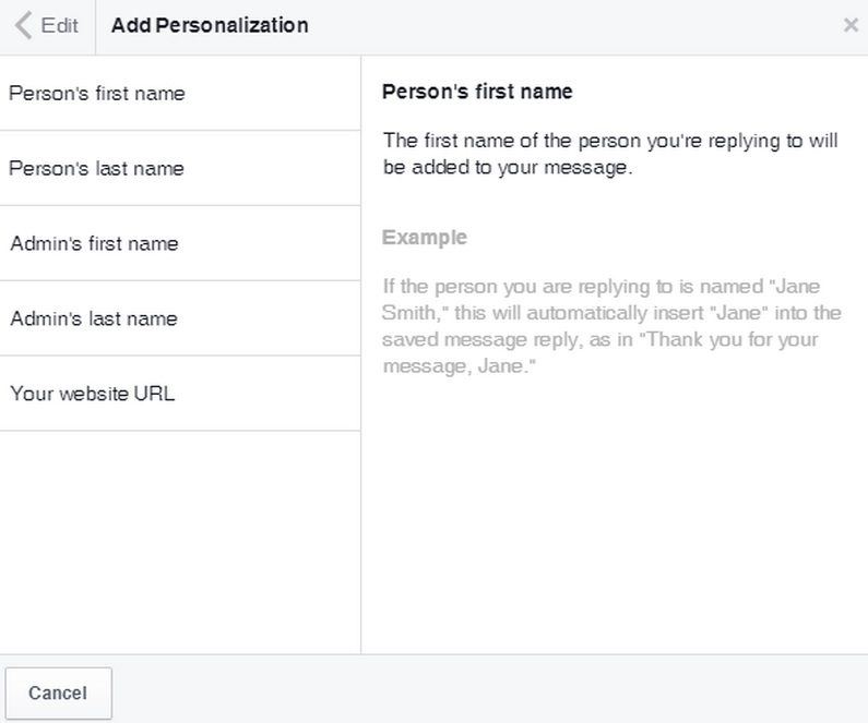ferramenta facebook saved replies