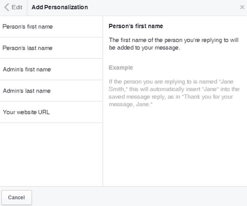 ferramenta facebook saved replies