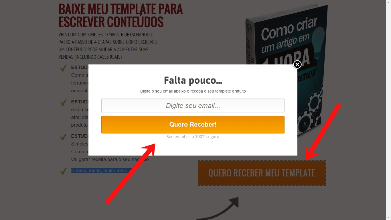 Formulario lista email landing page