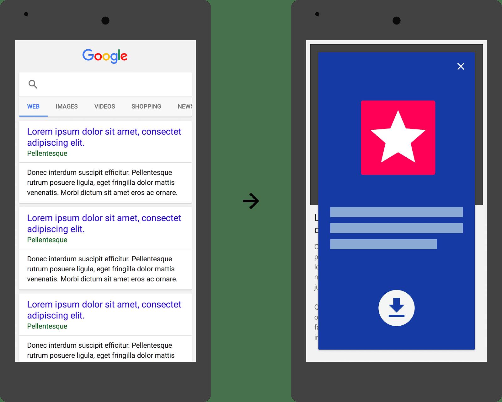 Google Pop-up app mobile