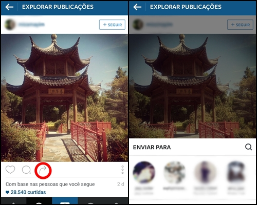 Mobile Marketing Instagram Compartilhar