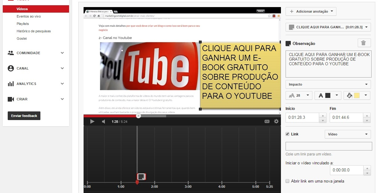 anotacao youtube engajamento publico marketing