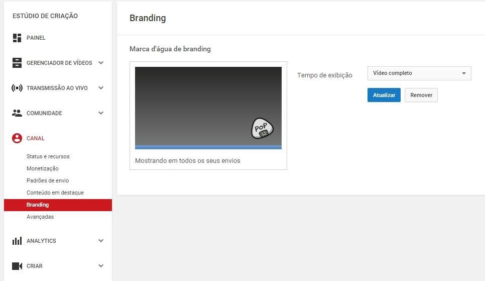 marca d'água logo canal youtube
