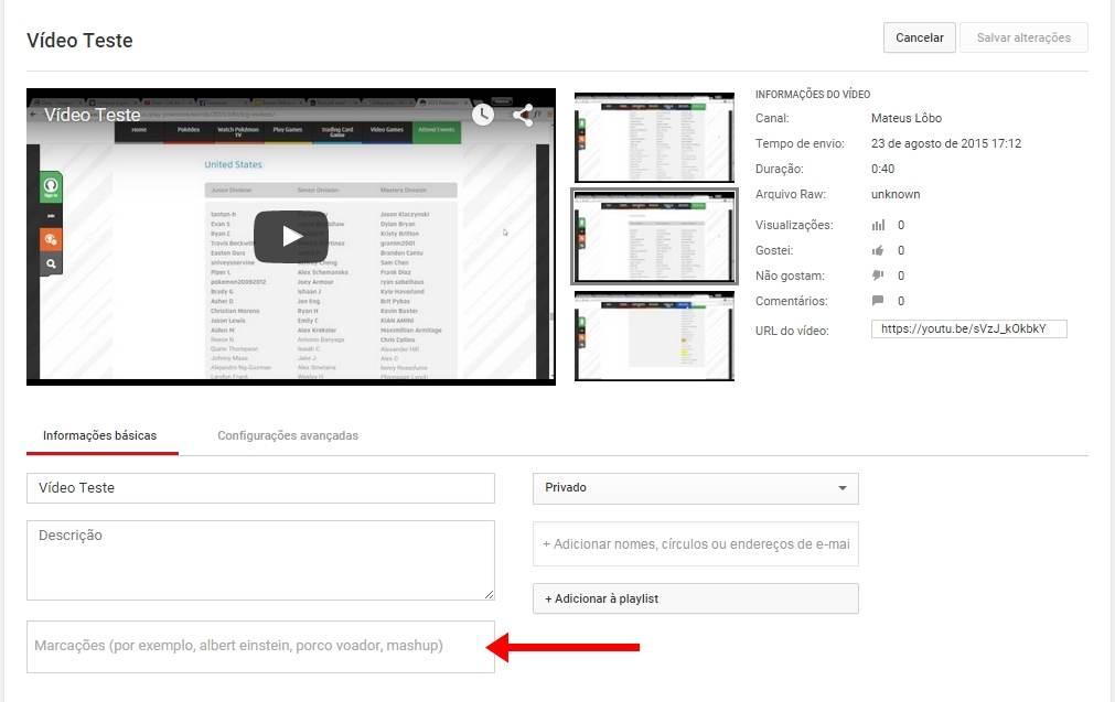 tags marcação Youtube